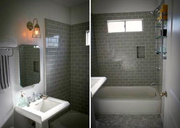 Bath with subway tile