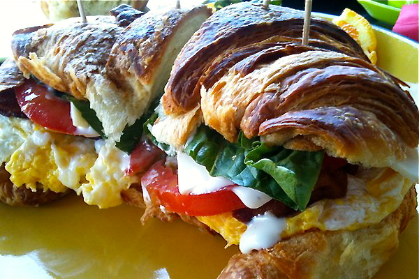 Newborn-sized bacon and egg croissant from Cafe Los Feliz