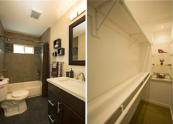 Bath with natural stone and walk-in closet