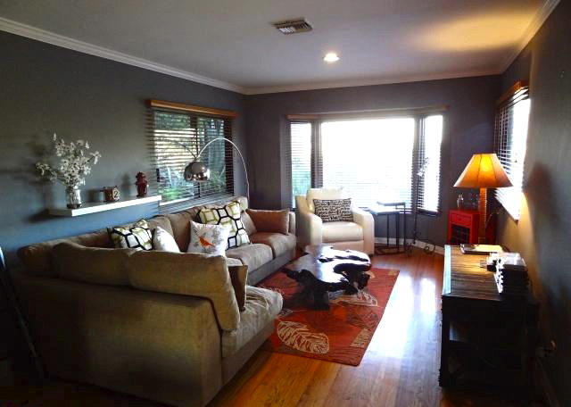 Living room with wood floors and open floor plan