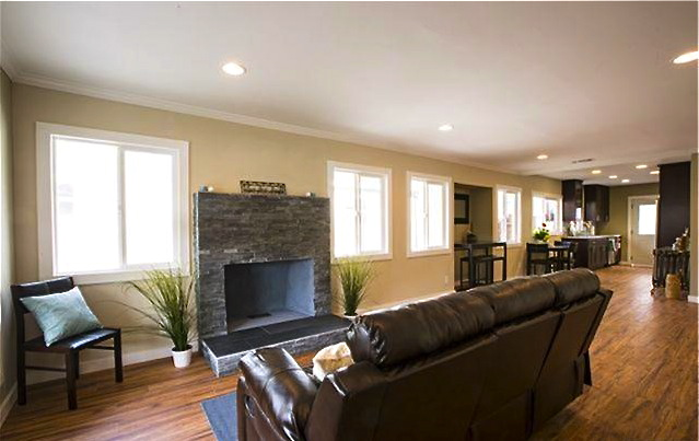 Living room with wood floors, fireplace and open floor plan