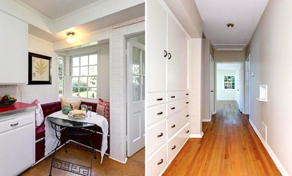 Built-in breakfast nook and hallway cabinets