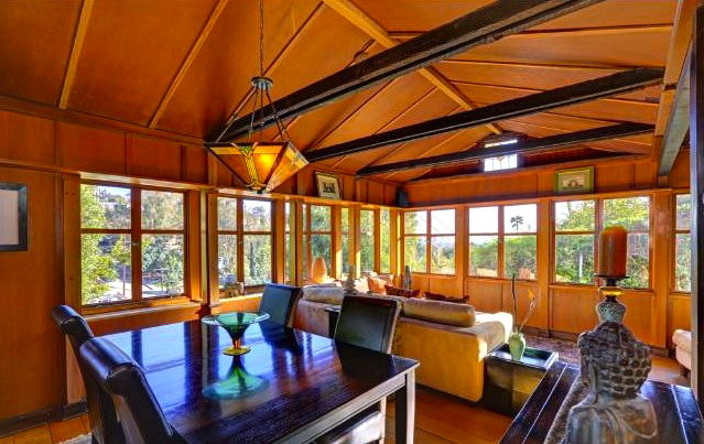 Dining room with beamed and vaulted ceiling