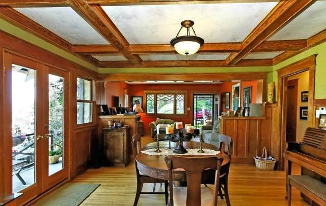 Dining room with coffered ceilings and built-ins