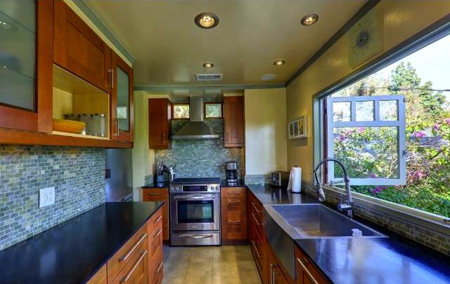 Modern kitchen with views
