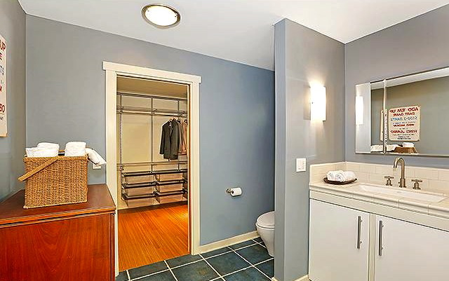 Master bath with roomy walk-in closet