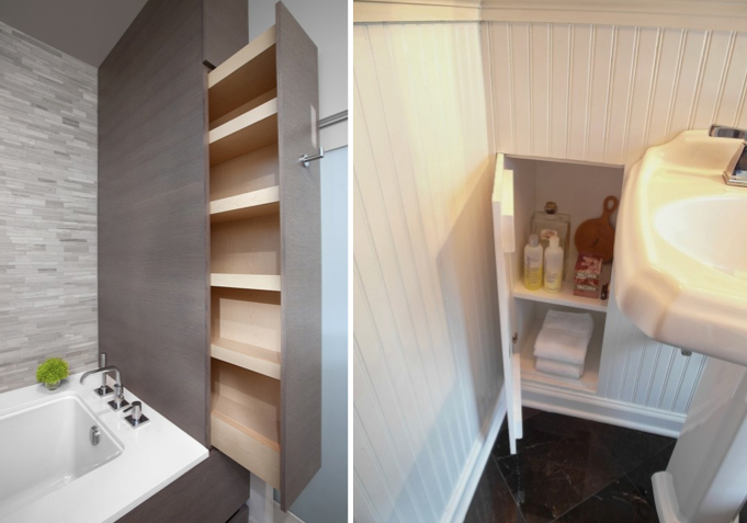 Bath: (l) narrow footprint, extra deep pull-out (r) wainscotting with a purpose