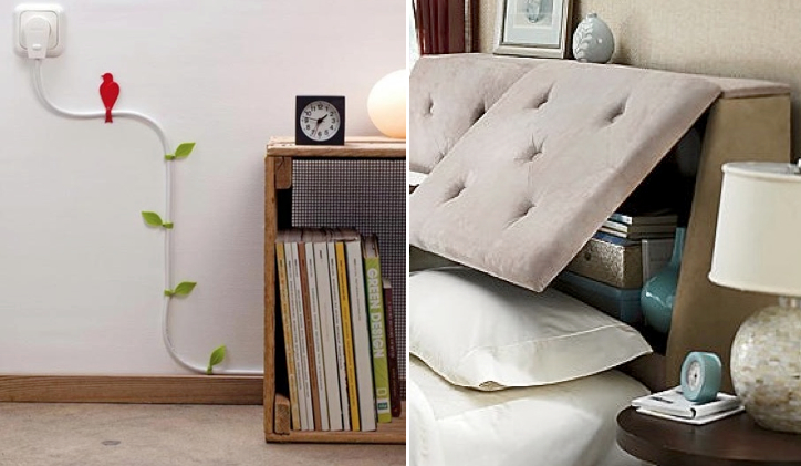(l) Gussy up cords (r) tufted headboard with tons of storage