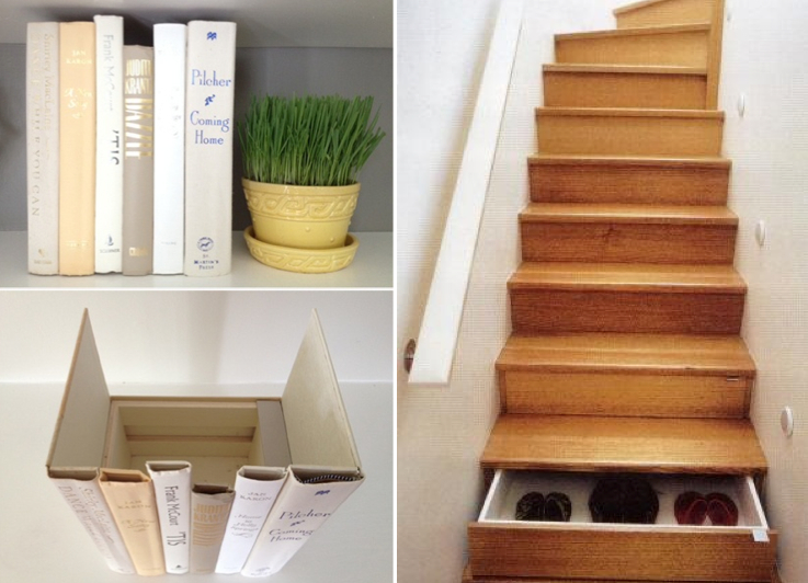 Living room: (l) faux book fronts (r) staircase drawers