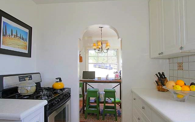 Galley kitchen with breakfast alcove