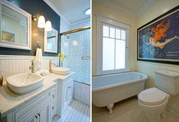 Baths with hex tile floor and clawfoot tub