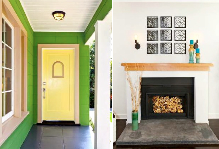 Front door and fireplace