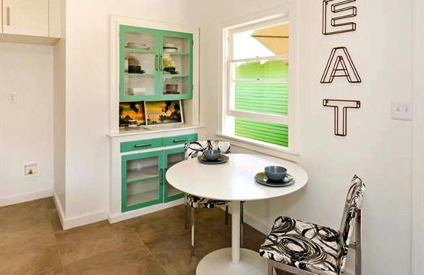 Breakfast nook and original built-in cabinet