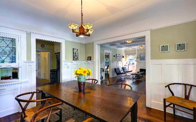 Dining room with original leaded glass built-ins