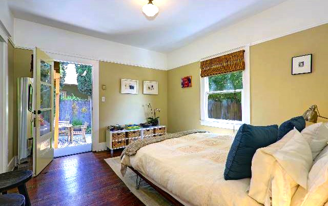 Bedroom with French doors to patio