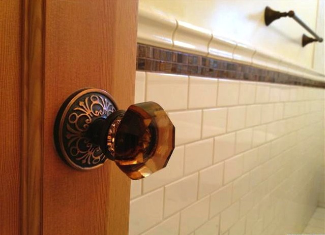 Crystal knobs and solid wood interior doors