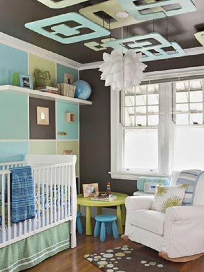Ceiling art: modern take on the baby mobile