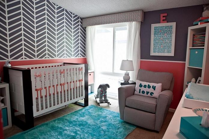 Chevron statement wall with pink accents