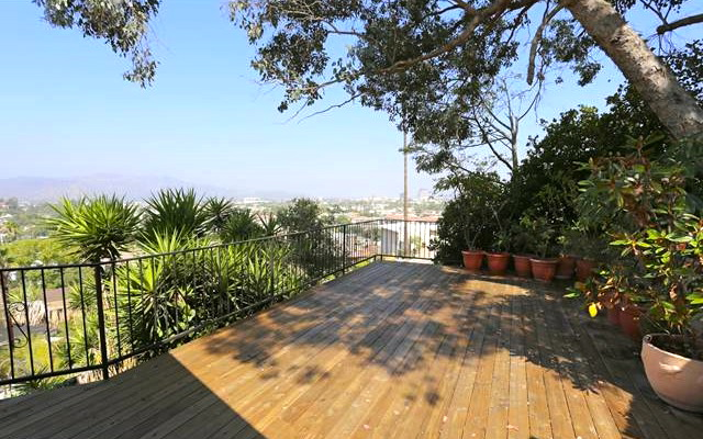 Roomy deck with panoramic views