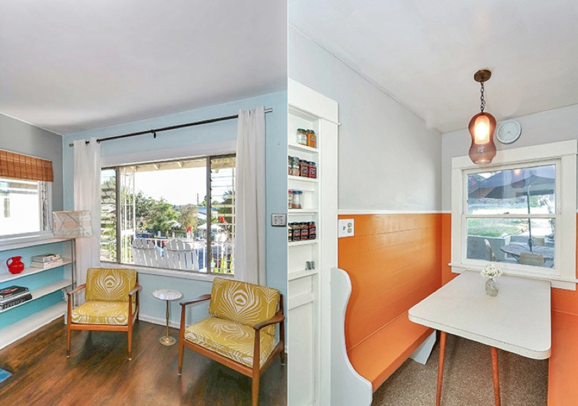 Built-in breakfast nook and bookcase