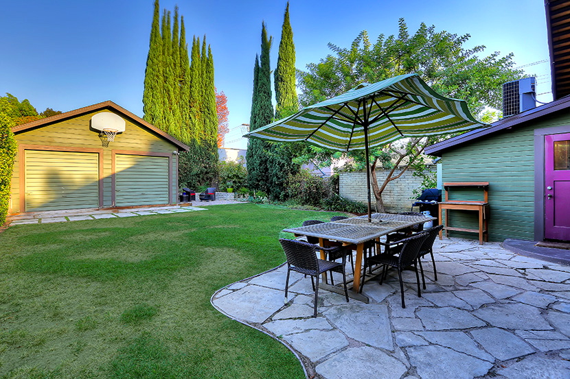 Flagstone patio and yard