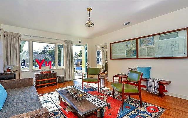 Living room with original wood floors