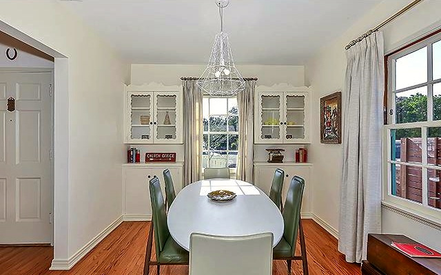 Dining room with original built-in cabinets