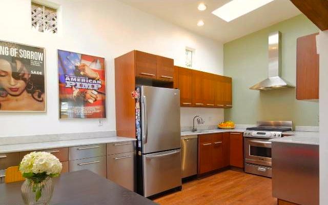 Open kitchen with skylight