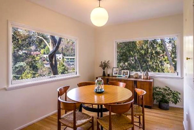 Dining room with treetop views