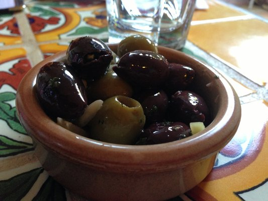 Complimentary Spanish olives