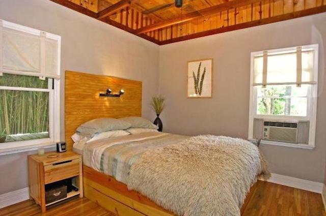 Bedroom with original wood floors