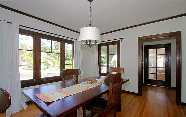 Dining room with original casement windows