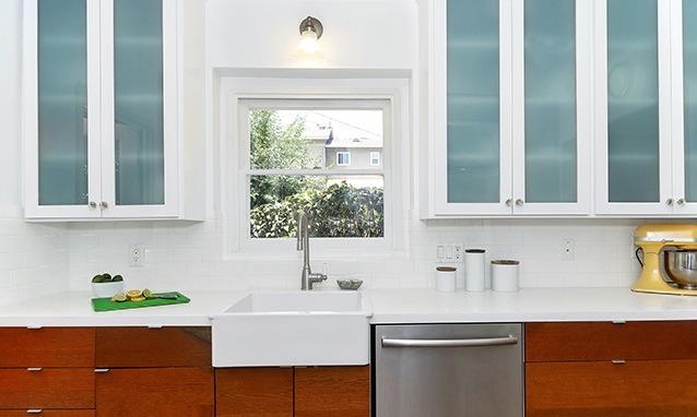 Modern kitchen with farmhouse sink...