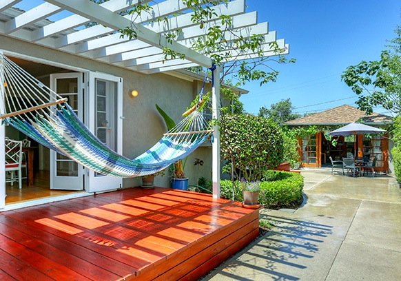 Deck and hammock off dining area