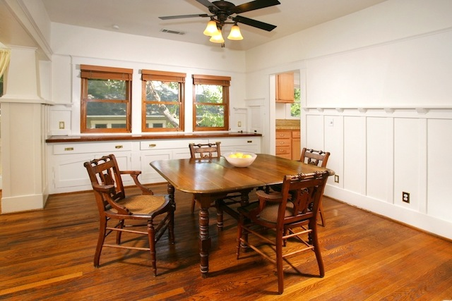 Dining room with chair rails