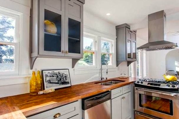 Modern kitchen with butcher block counters
