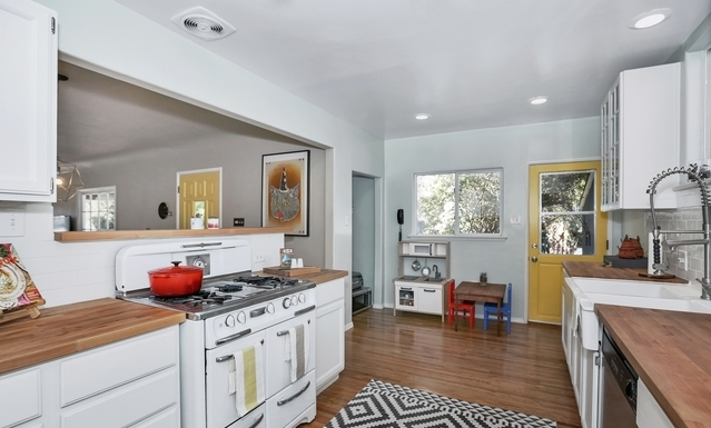 Kitchen with a vintage stove