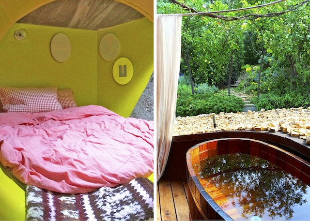 Cave sleeping nook and second level al fresco shower
