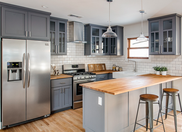Kitchen with butcher block counters