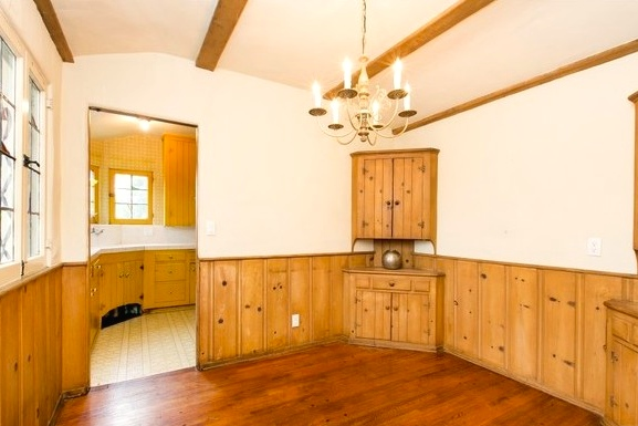Dining room with beamed ceiling