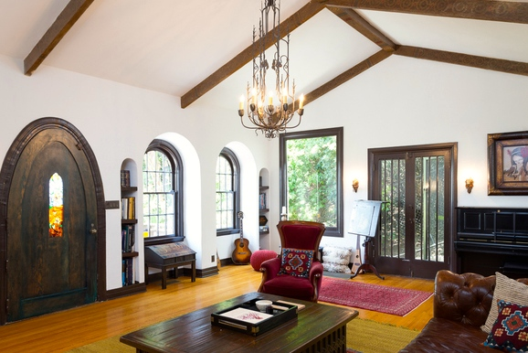Living room with beamed & vaulted ceiling