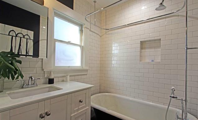Bath with cast iron tub